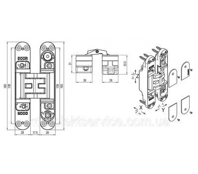 Технические размеры скрытой петли Krona Koblenz Кubica K5080