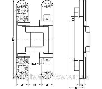 Технические размеры скрытой петли TECTUS TE 541 3D FVZ
