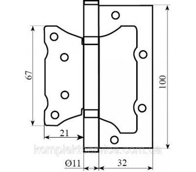 Технические размеры петли РДА