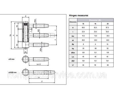 Техническая информация петли AGB 3-х штыревой