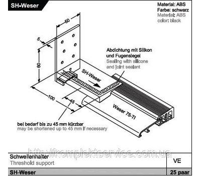 Технические размеры дверного порога Weser 102/32