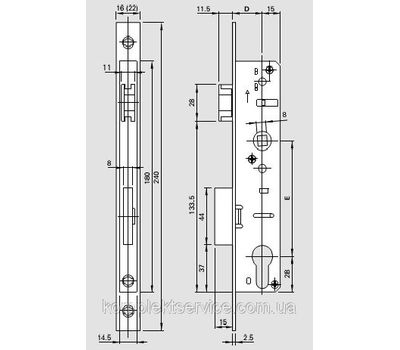 Технические размеры дверного замка Рото