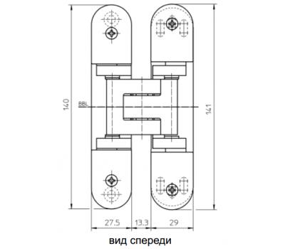 Размеры скрытой петли  Simonswerk TECTUS TE 305 3D