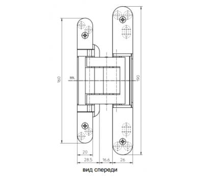 Размеры скрытой петли  Simonswerk TECTUS TE 380 3D