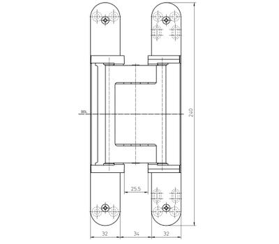 Размеры скрытой петли  Simonswerk TECTUS TE 640 3D A8