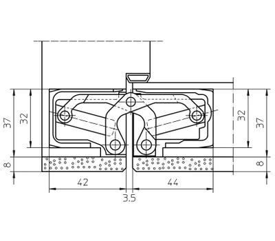 Технические размеры скрытой петли  TECTUS TE 640 А8