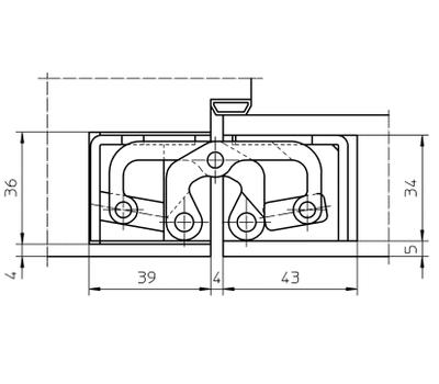 Технические размеры скрытой петли  TECTUS TE 645