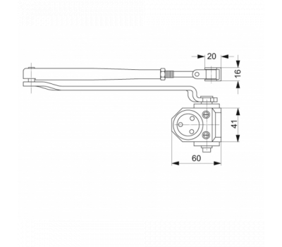 Дополнительные технические размеры доводчика Assa DC110