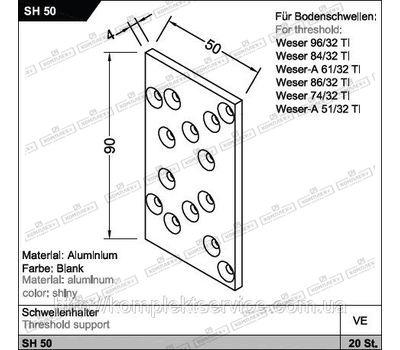Соединитель SH 50 для порогов Weser от Gutmann AG