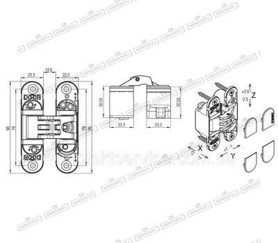 Технические размеры петли Kubica 6200